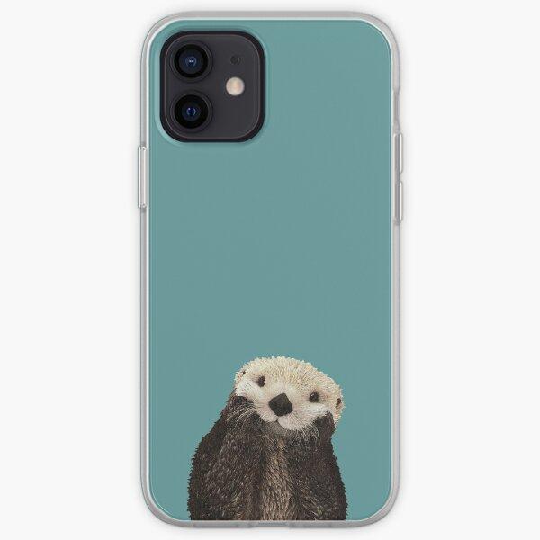 Cute Sea Otter on Teal Solid. Minimalist. Coastal. Adorable. iPhone Soft Case