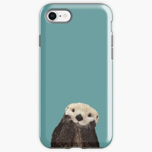 Cute Sea Otter on Teal Solid. Minimalist. Coastal. Adorable. iPhone Tough Case