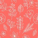 White flowers and leaves pattern on coral by Zehda