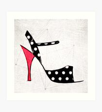 Strappy Polka Dot Tango Shoes with Red Heel Digital Painting Art Print