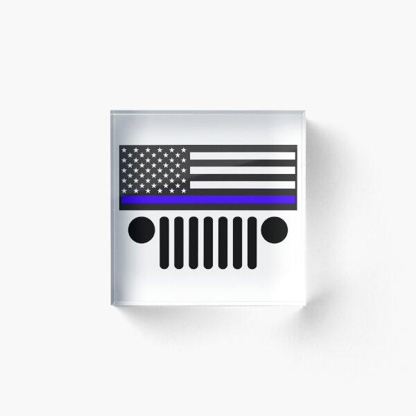 Jeep Police Blue Line Flag Acrylic Block