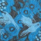 The Hummingbirds, Flowers and Birds, blue grey, fiber art  by clipsocallipso