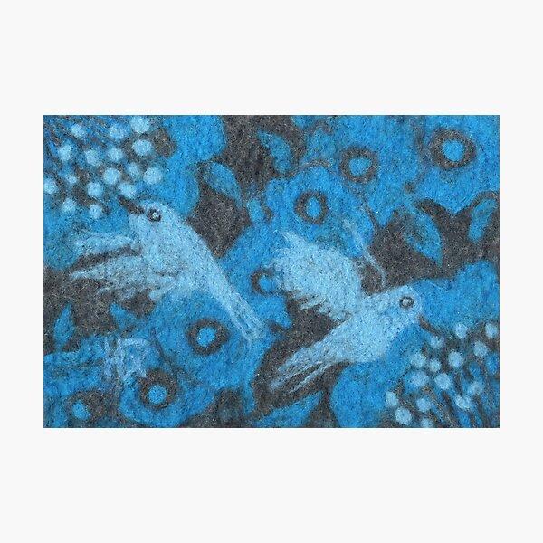 Hummingbirds, Flowers Birds Wool ainting Fiber Art Blue Grey  Photographic Print