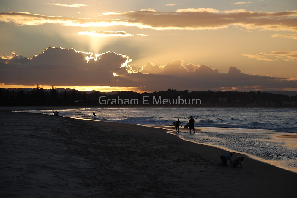 Days end at the beach by Graham E Mewburn