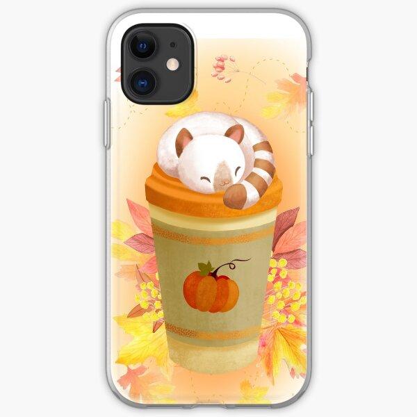Hola otoño - lindo gato en una taza de café Funda blanda para iPhone
