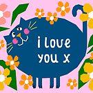 Cute Cat I Love You by Adam Regester