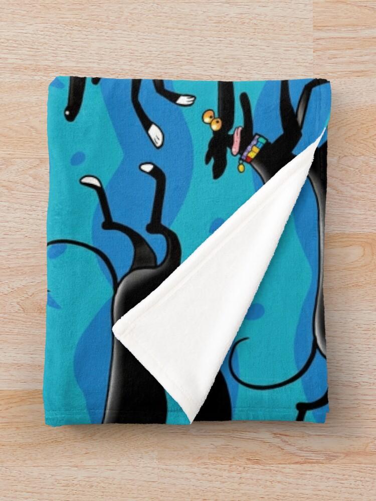 Alternate view of Blue Zoomies pattern Throw Blanket