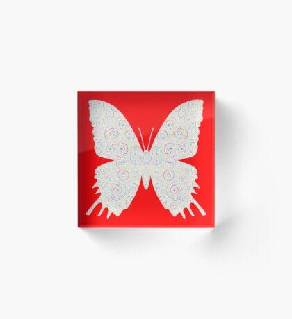#DeepDream White Butterfly Acrylic Block
