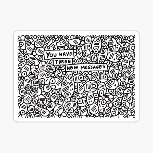 You have three new messages (abstract pattern) Sticker