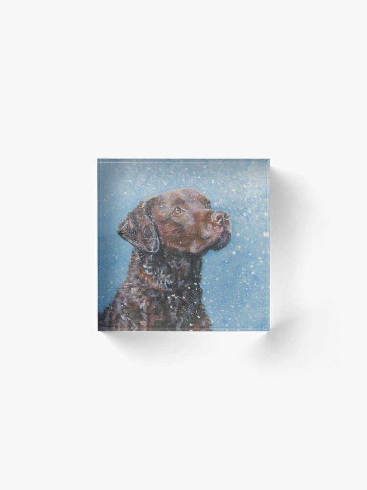 Alternate view of Chesapeake Bay Retriever Fine Art Painting Acrylic Block