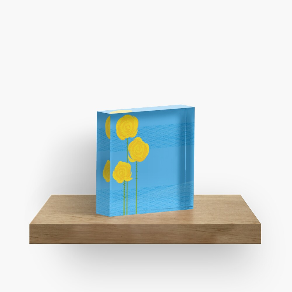 Yellow Roses Acrylic Block