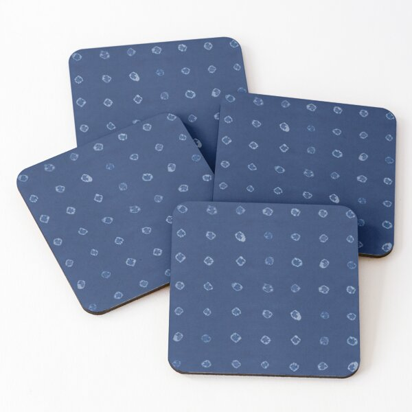 Shibori white dots over blue indigo background Coasters (Set of 4)