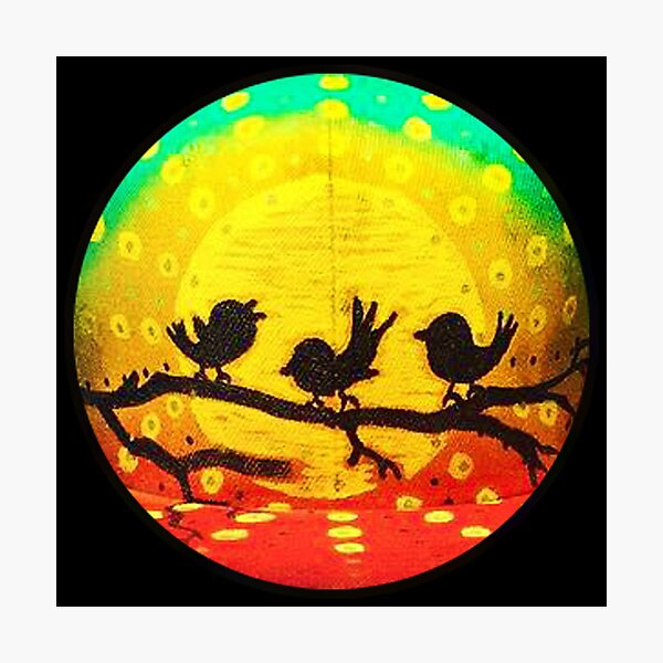 Three Little Birds on Branch Photographic Print