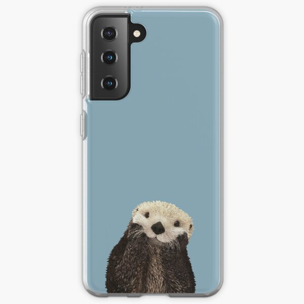 Cute Sea Otter on Steel Blue Solid. Minimalist. Coastal. Adorable Samsung Galaxy Soft Case
