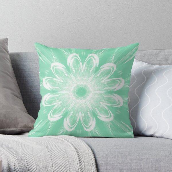 Floating Mint Flower  Throw Pillow