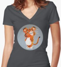 Cute Tiger Cub Fitted V-Neck T-Shirt