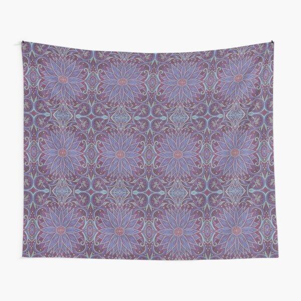 Lavender Lotus, Floral Arabesque Pattern, Bohemian Oriental Style Tapestry