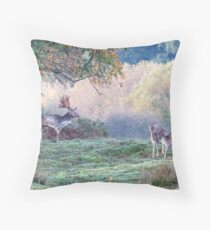 Autumn deer in the forest Throw Pillow