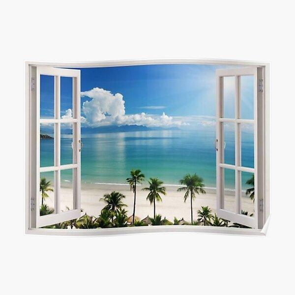 Beach Scene Open Windows Poster
