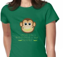 Monkey Smiling with Banana Womens Fitted T-Shirt