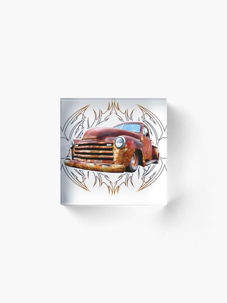 Alternate view of Pinstripe Rust Truck Acrylic Block
