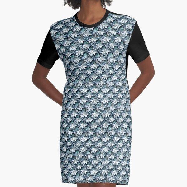 Japanese Waves Graphic T-Shirt Dress