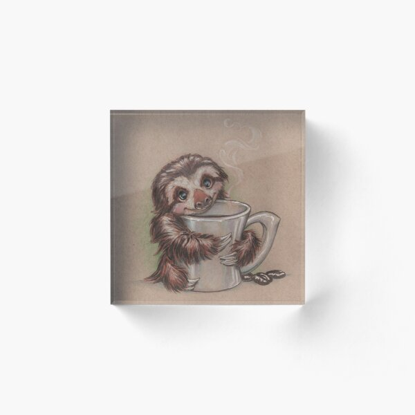 Sloth Coffee Acrylic Block