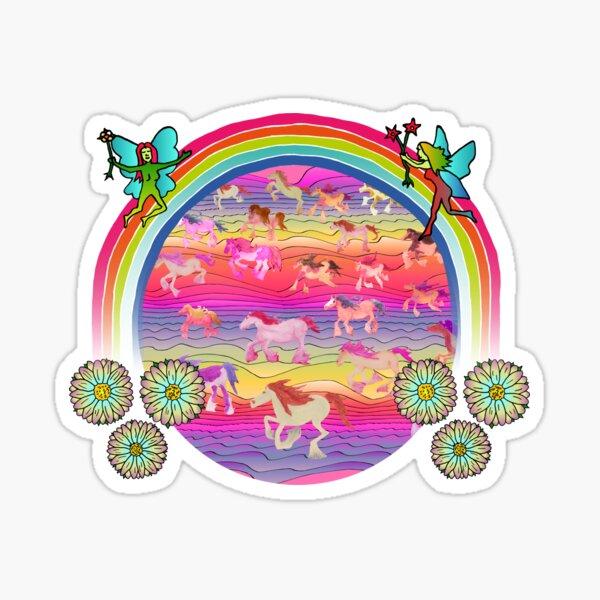 Under the fairy rainbow, a magic horse world awaits Sticker