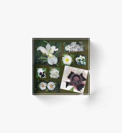 White Summer Flowers Collage Acrylblock