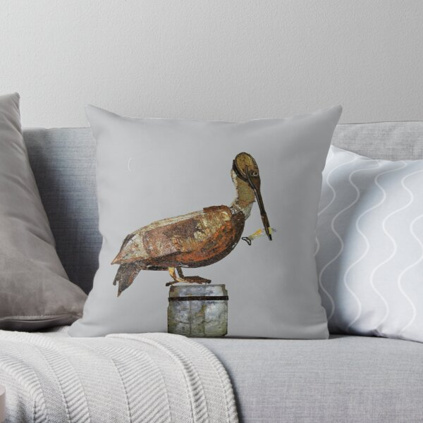 PeliCan on the Pier Throw Pillow