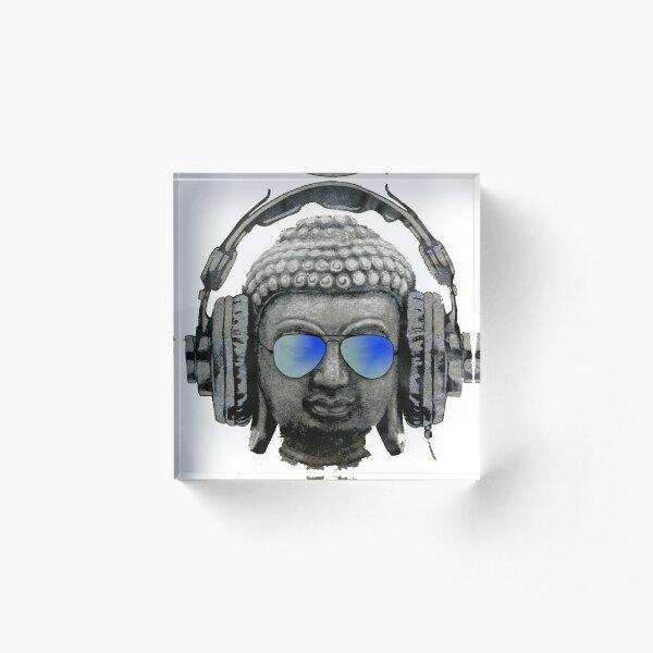 Cool Headphones Hip Hop Groove Buddha Banksy  Acrylic Block