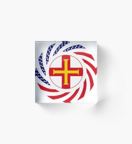 Guernsey American Multinational Patriot Flag Series Acrylic Block