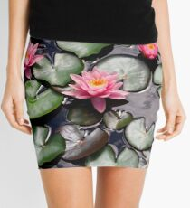 Pink Water Lilly Flower Trio floating on a Garden Pond Mini Skirt