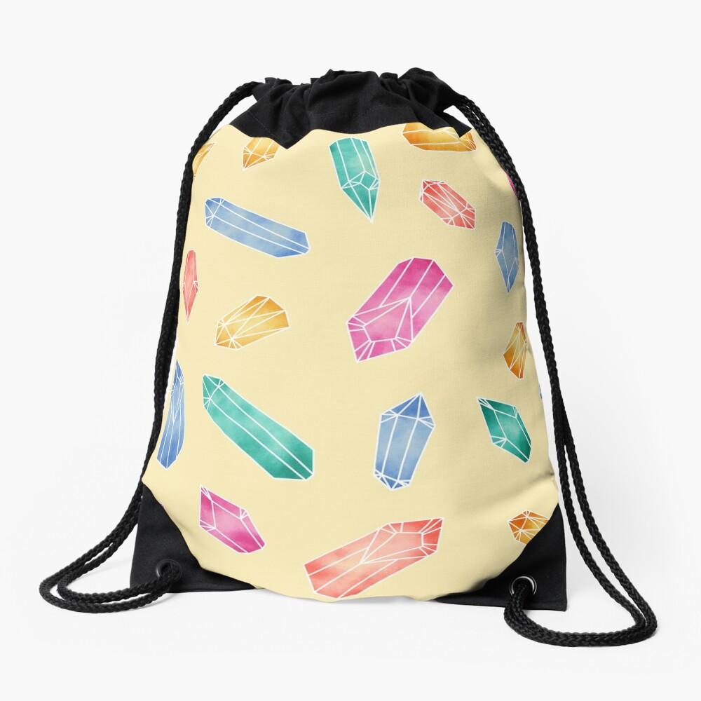 Crystals pattern - Yellow Drawstring Bag