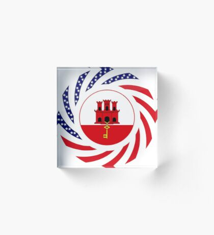 Gibraltarian American Multinational Patriot Flag Series Acrylic Block