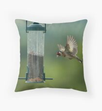 Gold Finch - Incoming! Throw Pillow