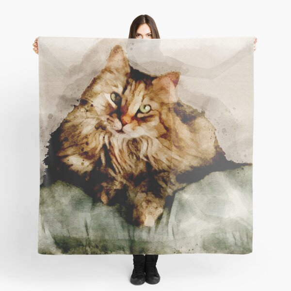 Lady Cat in Watercolor: Floof on Pillow Scarf