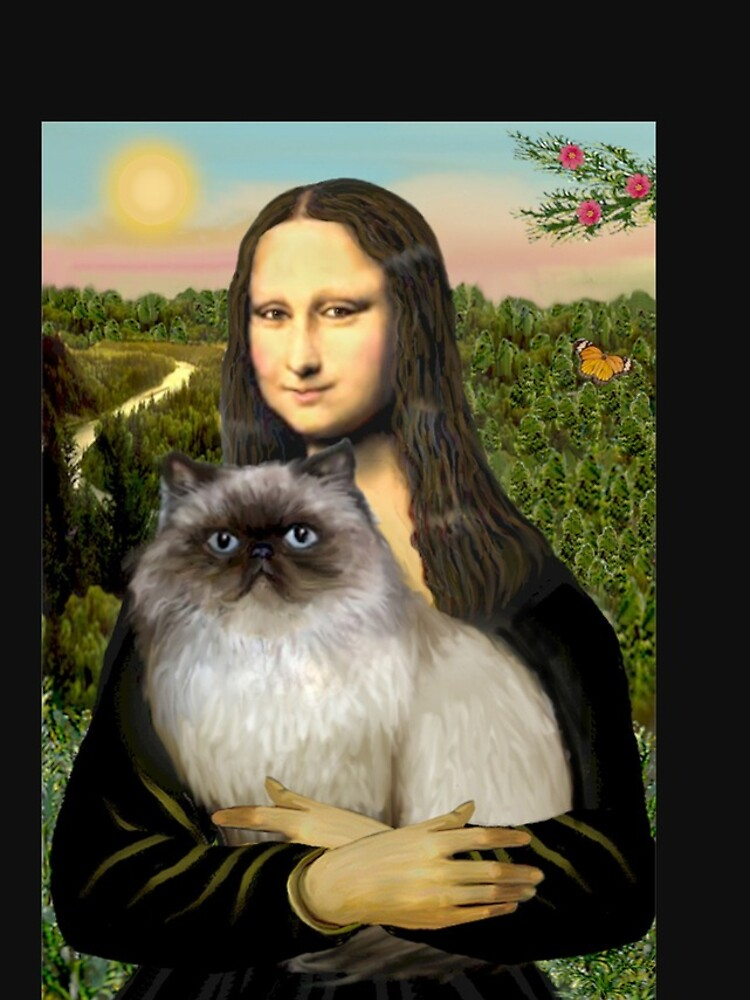 Mona Lisa and her Himalayan cat by JeanBFitzgerald