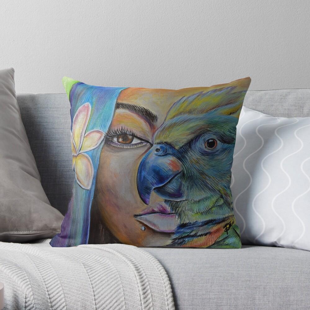Poetic Blue Throw Pillow