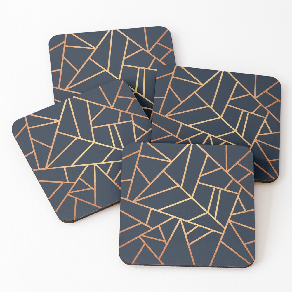 Copper and Midnight Navy Coasters (Set of 4)