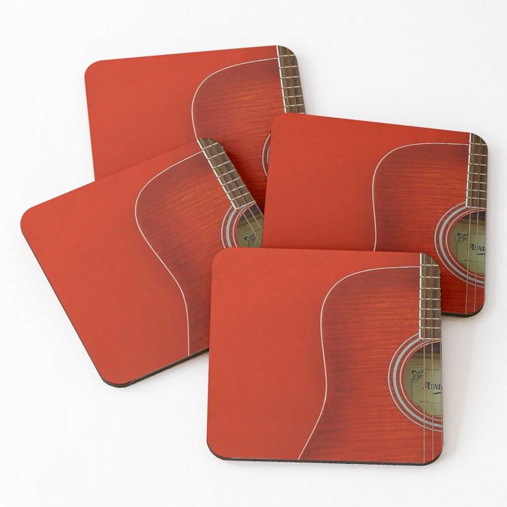Red Guitar Coasters (Set of 4)