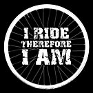 I Ride Therefore I Am Bicycle Wheel (light design) by bauwau-design