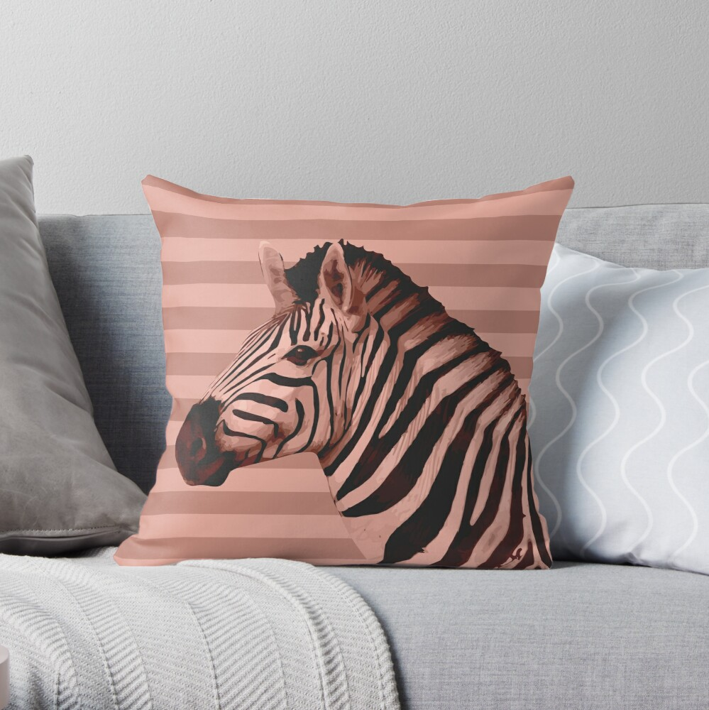 [Animals & Stripes] Peach zebra Throw Pillow