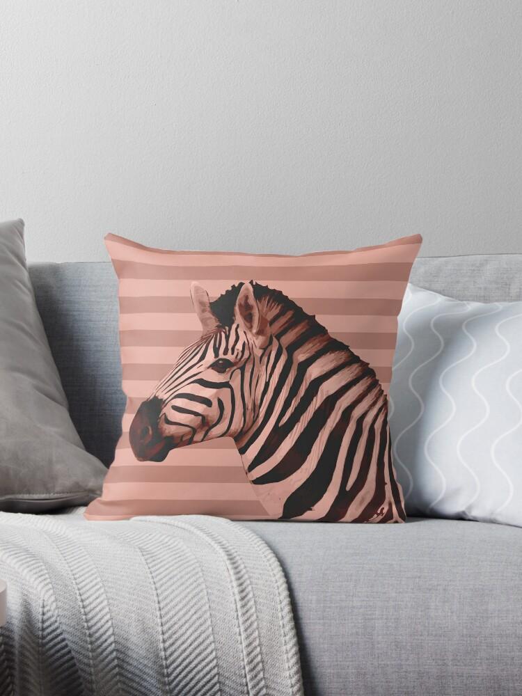 Pleasant Animals Stripes Peach Zebra Throw Pillow By Printables Passions Uwap Interior Chair Design Uwaporg