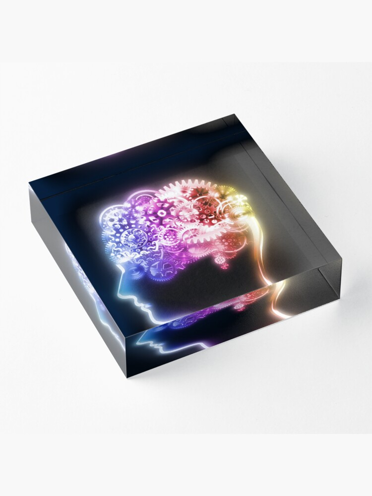 Alternate view of brain design by cogs and gears Acrylic Block