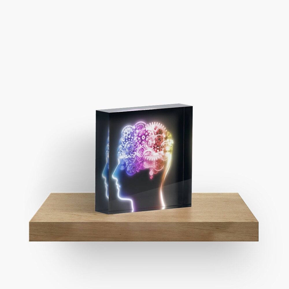 brain design by cogs and gears Acrylic Block