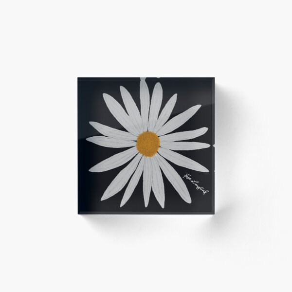 WHITE DAISY BLACK Acrylic Block