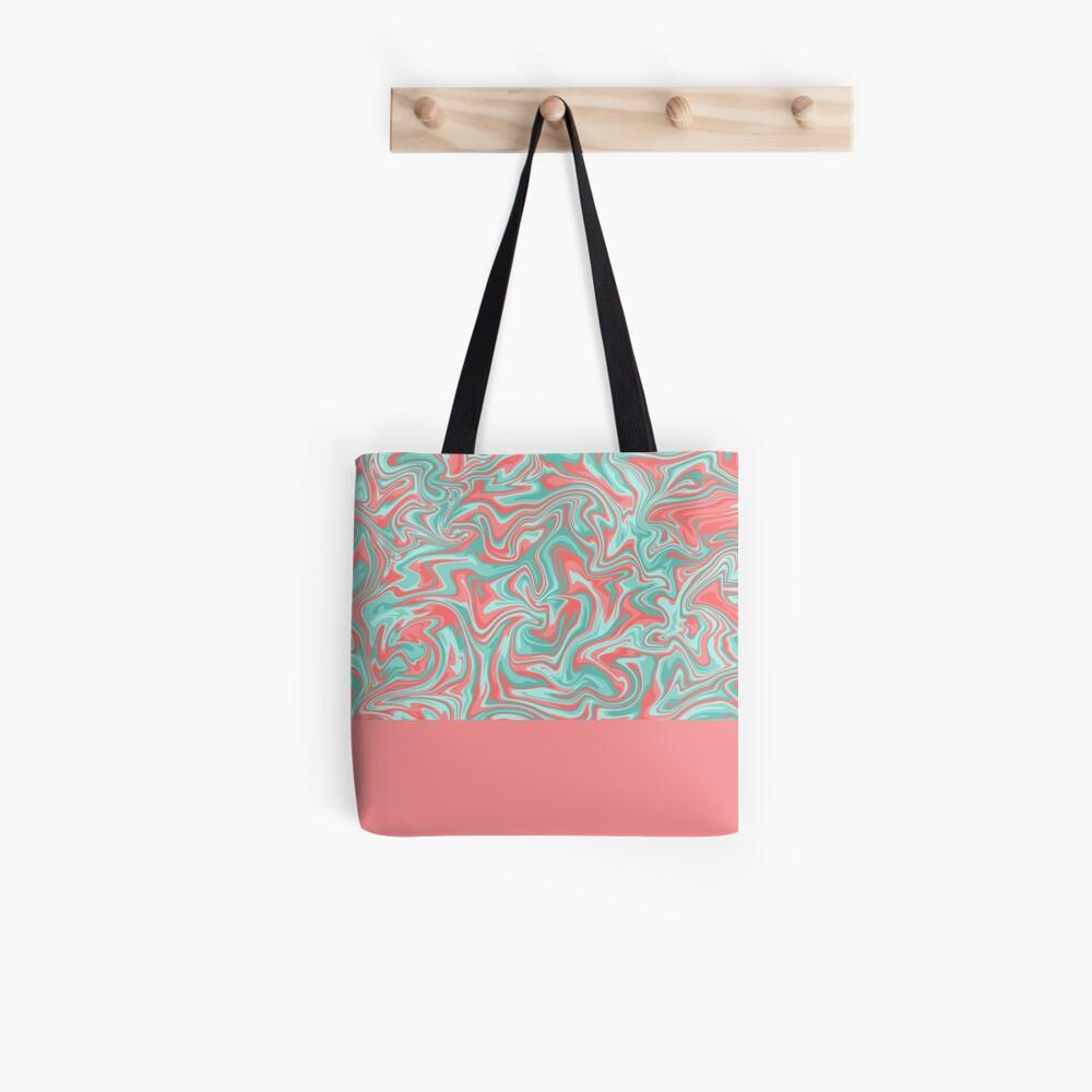 Liquid Swirl - Peach and Green Tote Bag