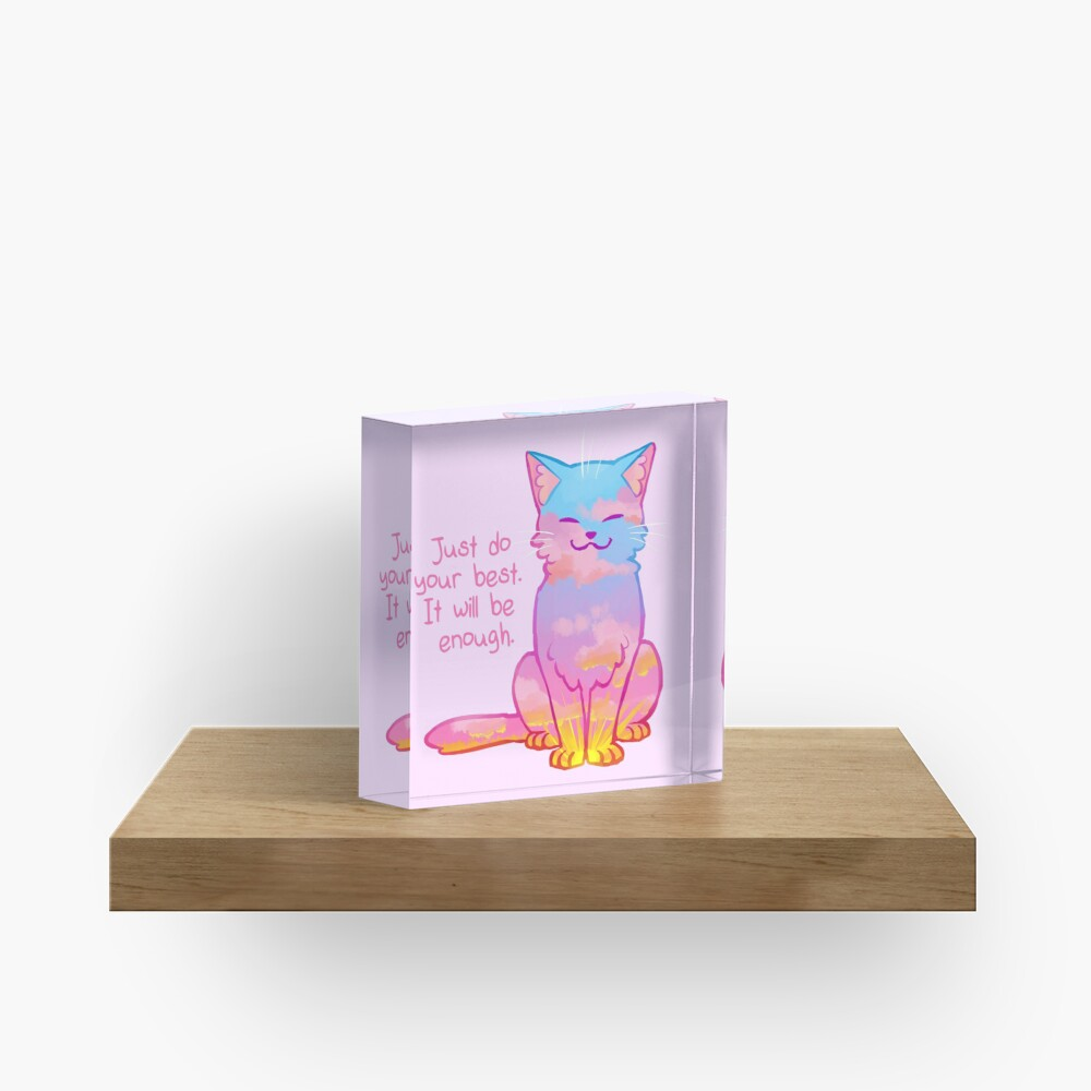 """""""Your Best Is Enough"""" Sunset Cat Acrylic Block"""