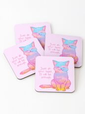 """Your Best Is Enough"" Sunset Cat Coasters"